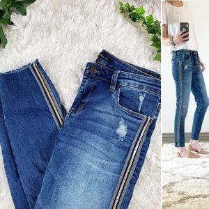 STS Blue Sequin Stripe Crop Piper Skinny Jeans EUC